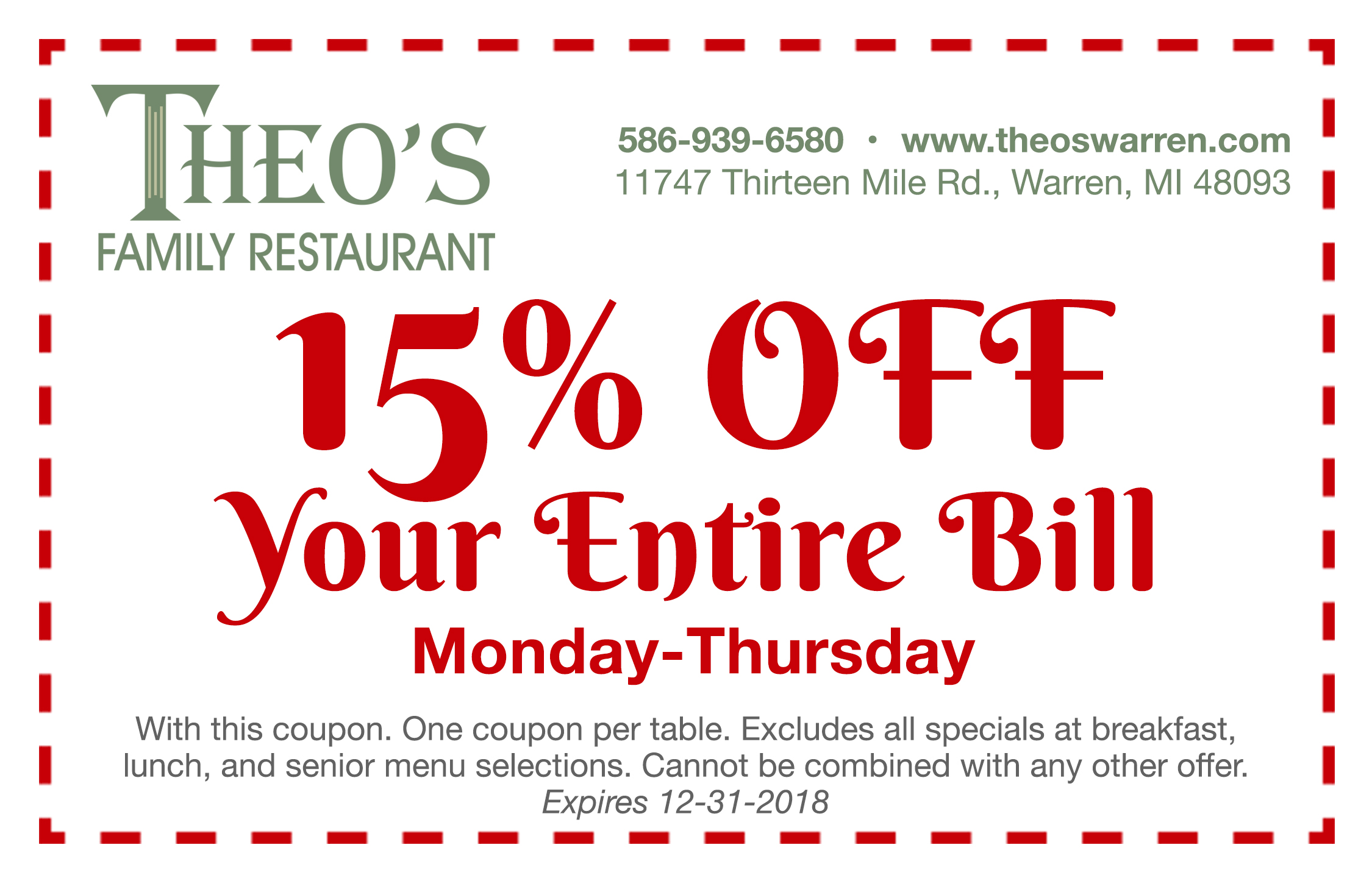 huge discount e6a21 62ad0 Theo s Family Restaurant   Coupons